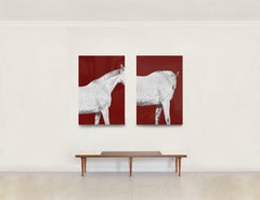 Tixie on Red I and II Diptych, Horse Series, Medium Archival Pigment Print
