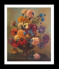 """ FLOWER VASE""- Original- realist oil canvas--still life  painting"