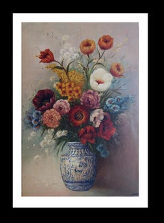 """""""FLOWERS"""" 1950- Juan Lara-Original- oil canvas-still life painting"""