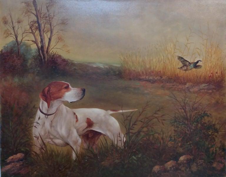 original hunting scene acrylic realist painting - Painting by Juan Lara