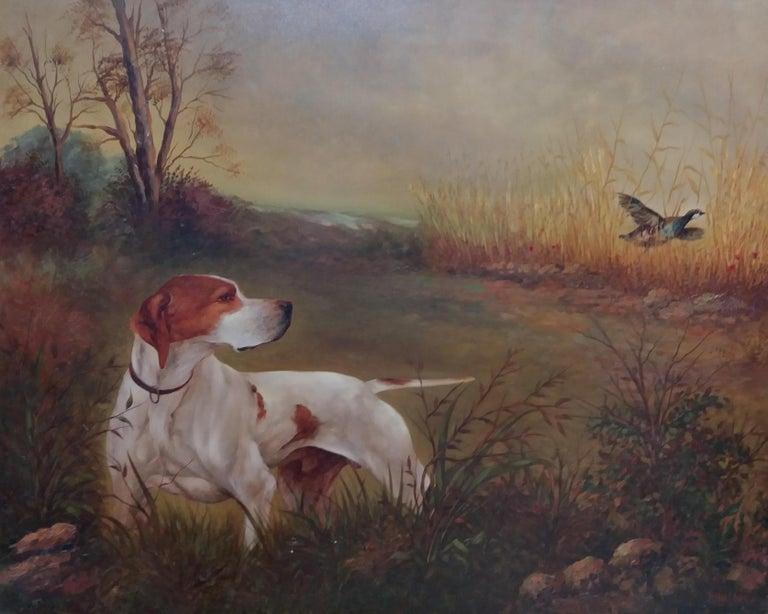original hunting scene acrylic realist painting - Realist Painting by Juan Lara