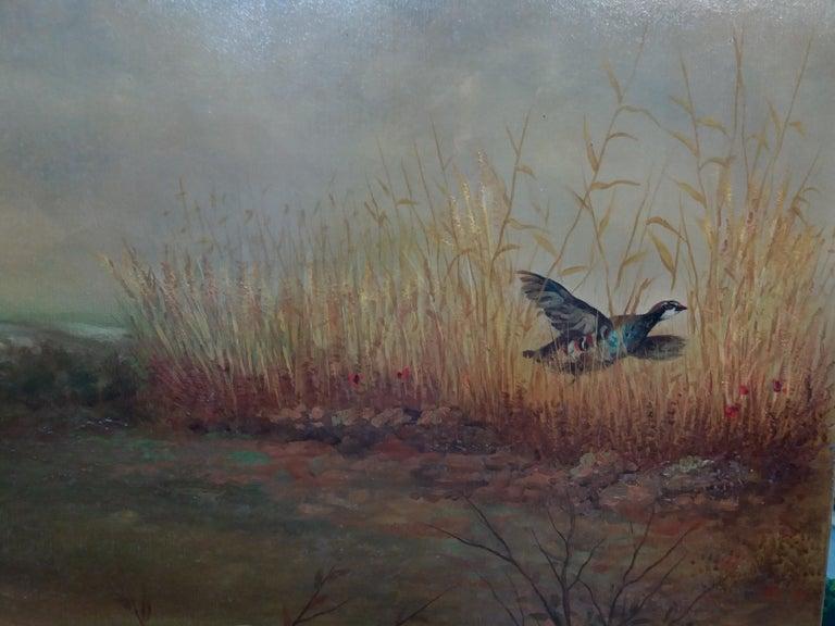 original hunting scene acrylic realist painting ..
