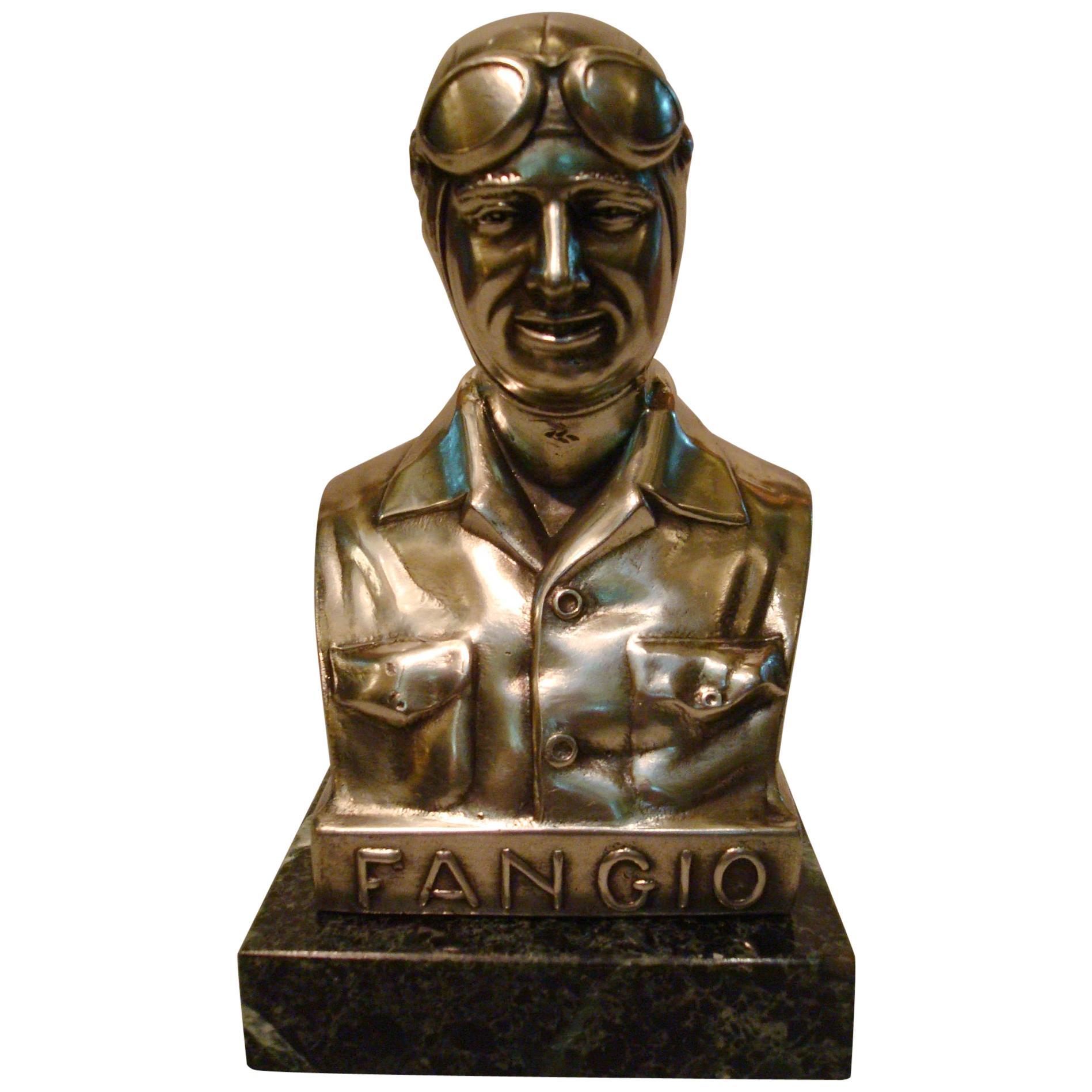 Juan Manuel Fangio Silver Plated Statue Paperweight, circa 1950 Car Automobilia