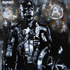 """ CAPITAN"" 2017 original street art mixed media painting"