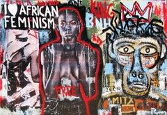 "- "" AFRICA FEMINISM"" 2017 original street art mixed media painting"