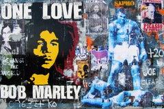 """ ONE LOVE ""2017 original street art amixed media painting"