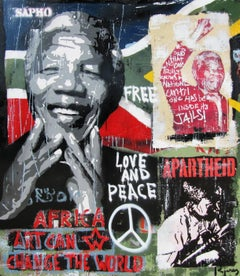 """AFRICA ""2017 original street art mixed media painting"