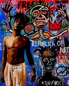 Basquiat original street art mixed media canvas painting