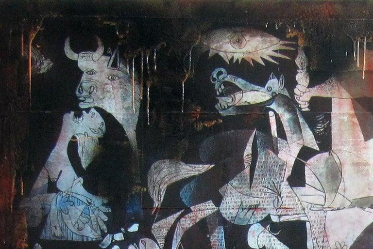 Boikot war. street art. Original Painting - Black Figurative Painting by JUAN MANUEL PAJARES