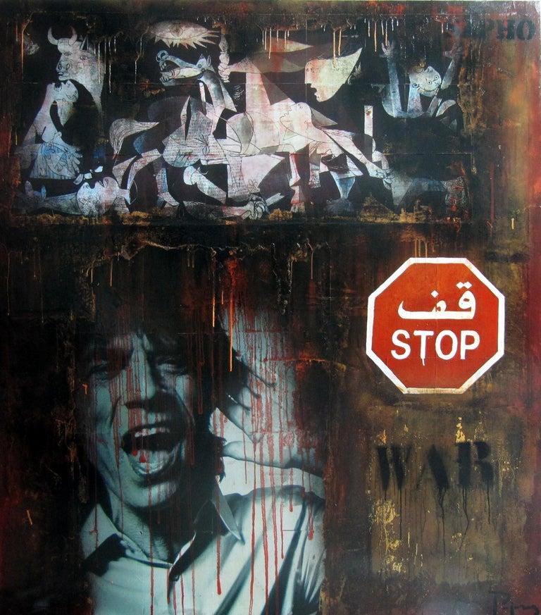 JUAN MANUEL PAJARES Figurative Painting - Boikot war. street art. Original Painting