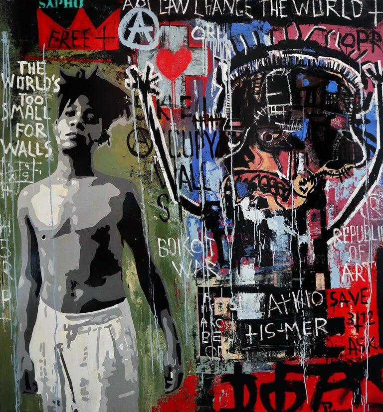 Boikot war.original painting - Street Art Mixed Media Art by JUAN MANUEL PAJARES
