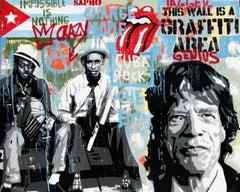 Cuba Rock -  Original- street art Mixed Media Painting- 2016