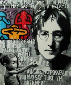 """IMAGINE""- original street art mixed media canvas painting"