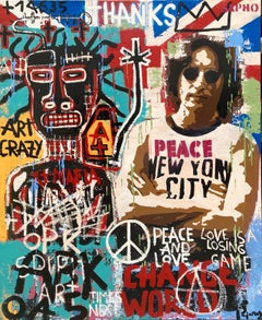 LOVE original street art mixed media painting
