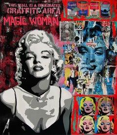 Magic Woman original street art mixed media painting