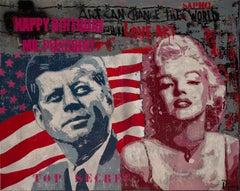 Mr. President original street art mixed media canvas painting