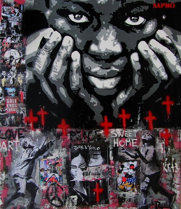 JUAN MANUEL PAJARES Figurative Painting - SWEET HOME   original street art mixed media painting