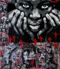 SWEET HOME    - street art. original mixed media canvas painting