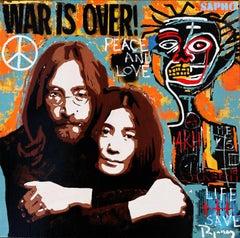 War is over original street art mixed media canvas painting