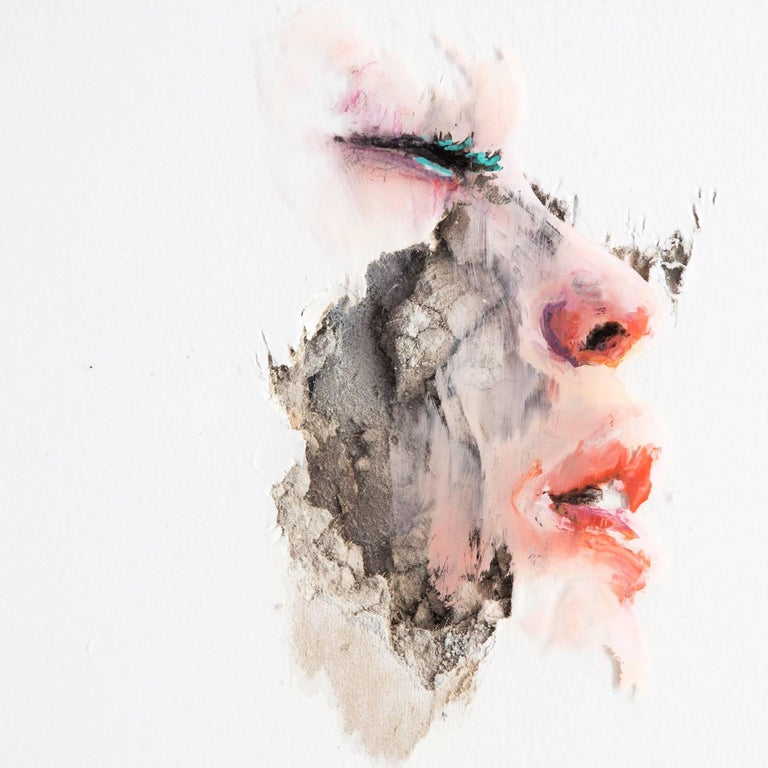 """Palacios' latest series  """"Wounds,"""" features delicate paintings of women's faces desperately caught between fight and flight, are gorgeously rendered using industrial, oil-based house paint on thin panels of clear vinyl, then layered over hard slabs"""