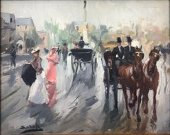 Gray day in Paris oil on canvas painting