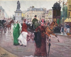 Paris scene oil on canvas painting