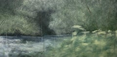 Springtime on the river, green, blue, contemporary landscape, 2021, Acrylic