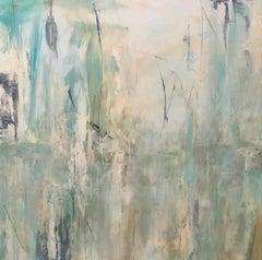 Tropicana 1, Contemporary landscape, coral, teal, 2019, Acrylic on canvas