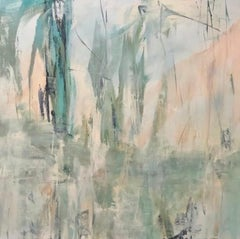 Tropicana 2, Contemporary landscape, coral, teal, 2019, Acrylic on canvas
