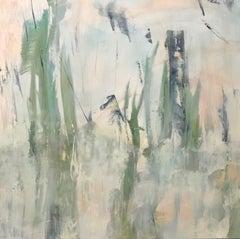 Tropicana 3, 2019, Contemporary landscape, coral, teal, Acrylic on canvas
