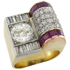 Jubilee Cut Diamond Ruby Gold Retro Ring