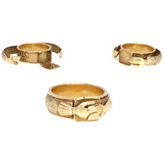 Judaic Engagement Mazal Tov 18 Karat Gold Secret Ring
