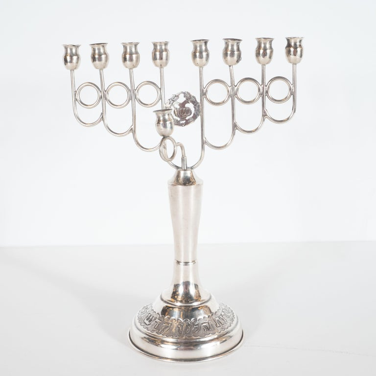 Nickel Judaica Art Deco White Metal Skyscraper Style Hand Wrought Chanukah Menorah For Sale