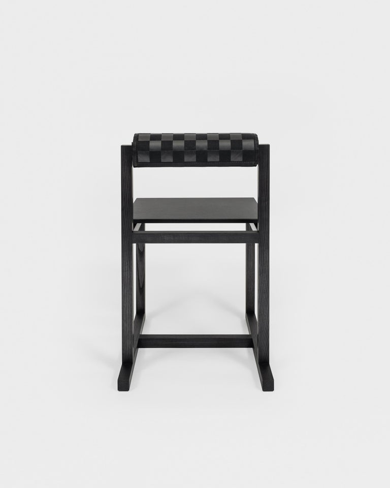 Contemporary Judd-Nelson Modern Chair in Ebonized Ash Wood, in Stock For Sale