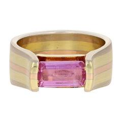 Jude Frances 1.62 Carat Pink Sapphire Ring 18 Karat Yellow, White, and Rose Gold