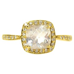 Jude Frances 18k Gold Small Cushion Cut White Topaz & Diamond Ring sz 8.5