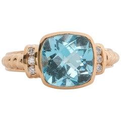 Jude Francis 3 Carat Topaz and Diamond Ring and 14 Karat Gold