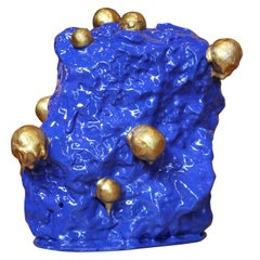 """""""I Know You Know I Love Yew"""" Blue and Gold Decorative Sculpture"""