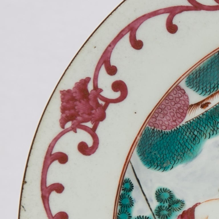 A rare Chinese export plate showing the Judgment of Paris. The delicately painted figures derive from a painting by Jean Paul Rubens. The plate was made during the Qianlong Reign, circa 1750. The scene shows Rubens' version of idealized feminine