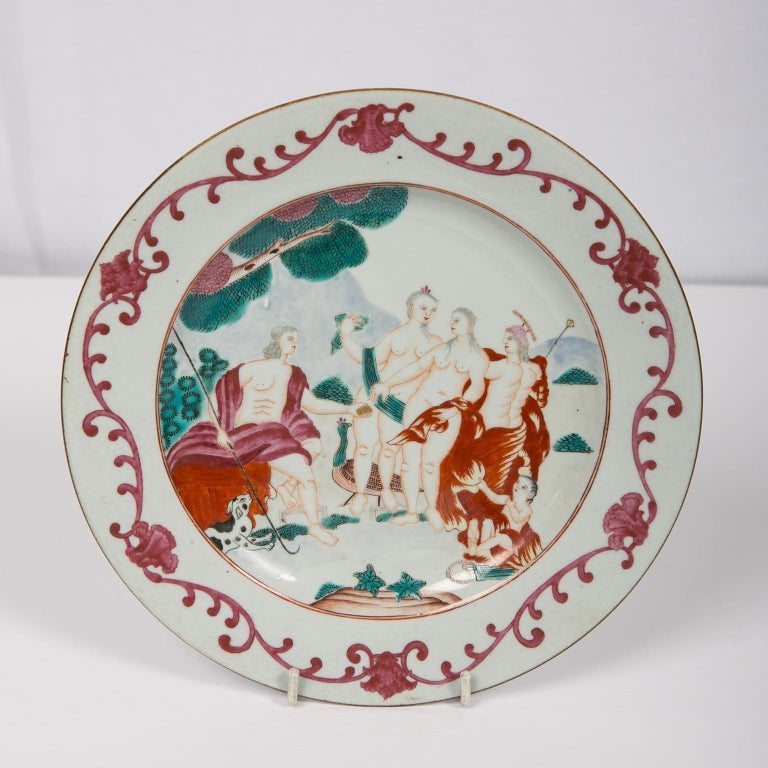 Neoclassical Judgment of Paris Chinese Export Plate For Sale