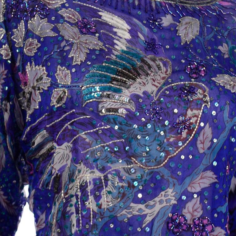 Judith Ann Creations Purple & Blue Beaded Sequin 2pc Dress with Bird Design For Sale 6