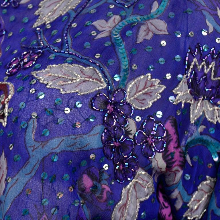 Judith Ann Creations Purple & Blue Beaded Sequin 2pc Dress with Bird Design For Sale 7
