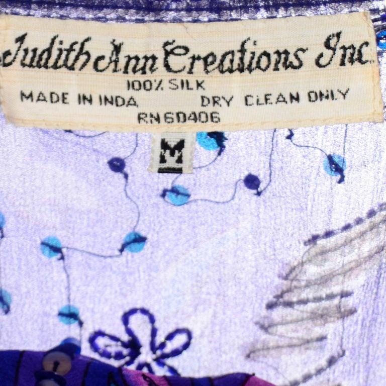 Judith Ann Creations Purple & Blue Beaded Sequin 2pc Dress with Bird Design For Sale 8