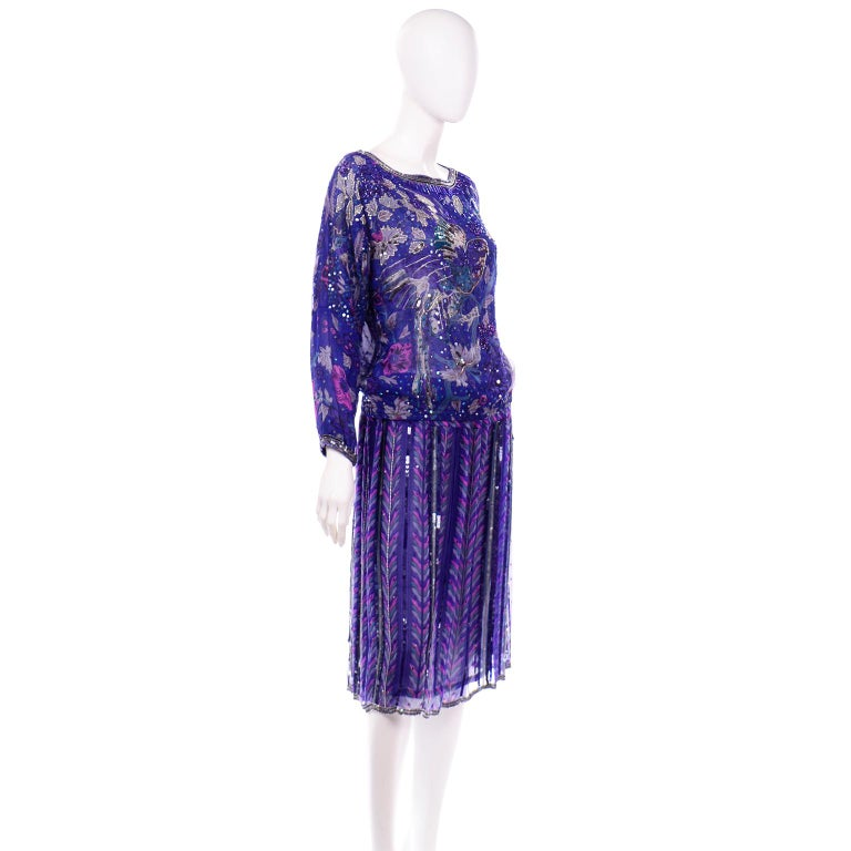 Judith Ann Creations Purple & Blue Beaded Sequin 2pc Dress with Bird Design In Excellent Condition For Sale In Portland, OR