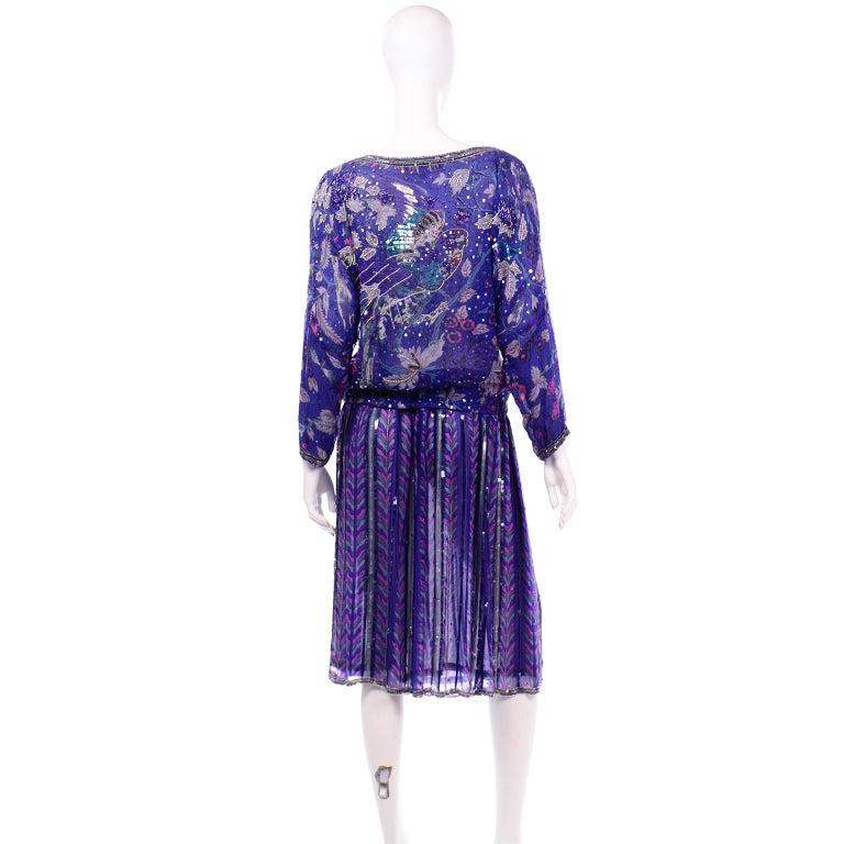 Women's Judith Ann Creations Purple & Blue Beaded Sequin 2pc Dress with Bird Design For Sale