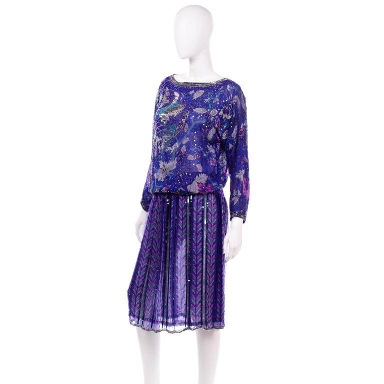 Judith Ann Creations Purple & Blue Beaded Sequin 2pc Dress with Bird Design For Sale 1