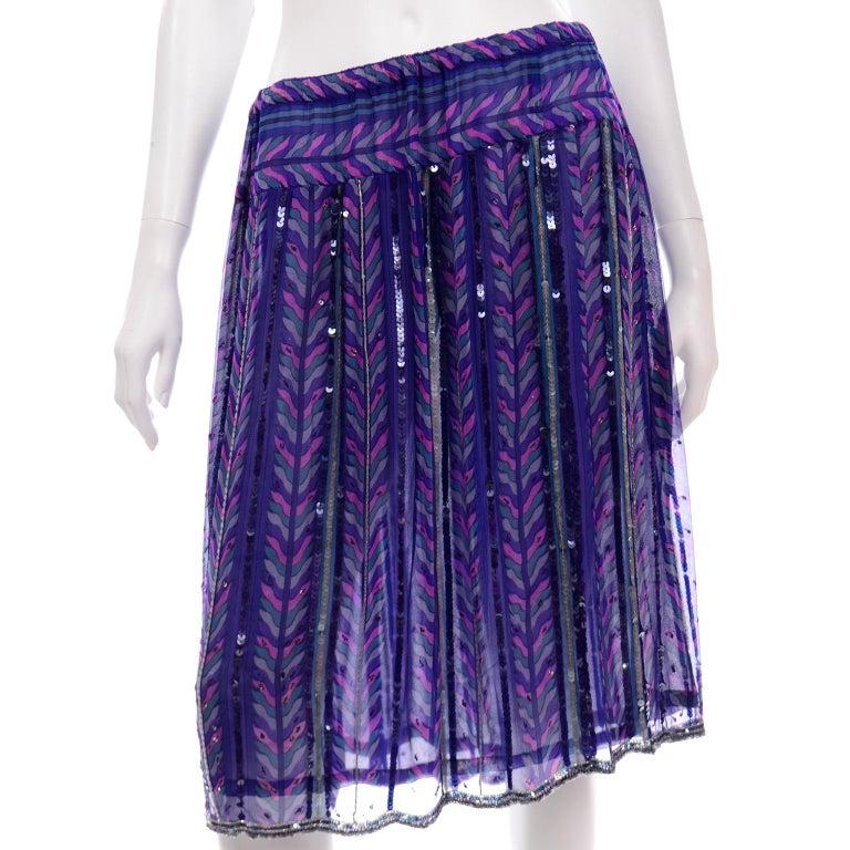 Judith Ann Creations Purple & Blue Beaded Sequin 2pc Dress with Bird Design For Sale 2