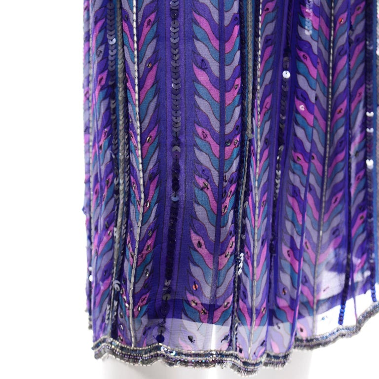 Judith Ann Creations Purple & Blue Beaded Sequin 2pc Dress with Bird Design For Sale 3