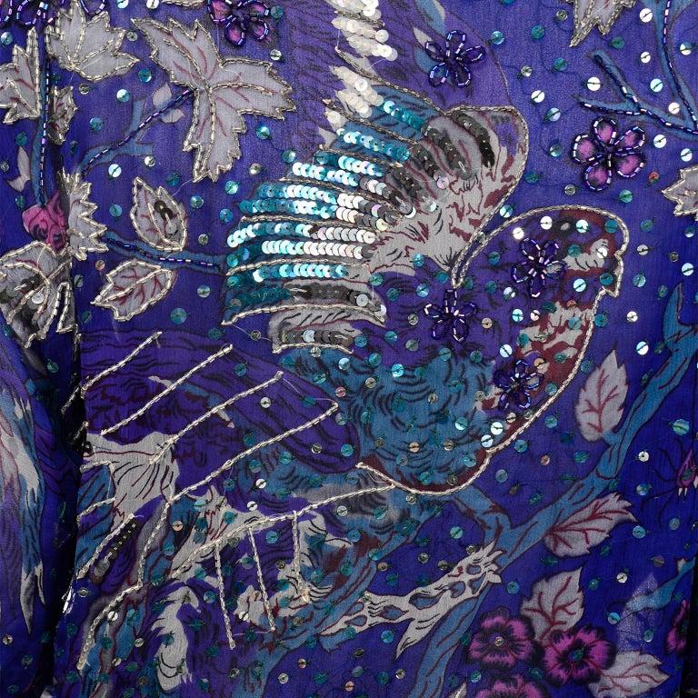 Judith Ann Creations Purple & Blue Beaded Sequin 2pc Dress with Bird Design For Sale 4