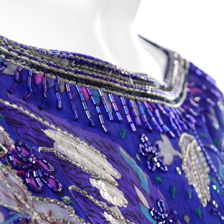 Judith Ann Creations Purple & Blue Beaded Sequin 2pc Dress with Bird Design For Sale 5